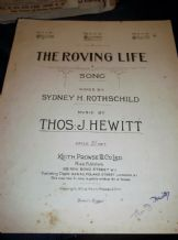 VINTAGE 1921 SHEET MUSIC PIANO WORDS THE ROVING LIFE THOS J HEWITT PROWSE